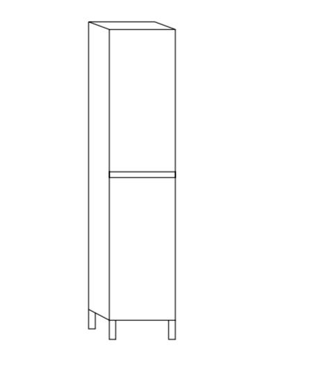 Columna con patas y susp. dos puertas de 162x30