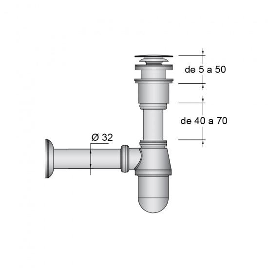 Válvula Click-Clack y sifon botella cromados