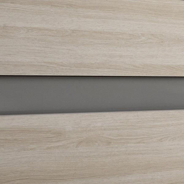 Mueble crudo/tirador de cristal gris