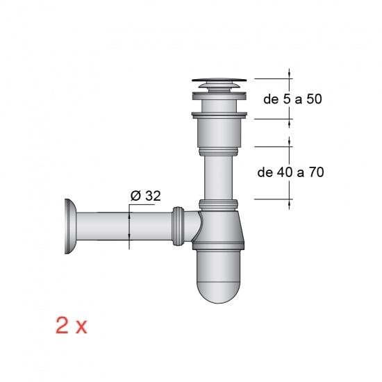 2x Válvula Click-clack y sifon cromado ( laton )