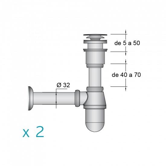 2 x Válvula y sifon cromados