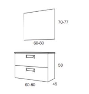 Mueble Suspendido con dos cajones ( 58 cm )