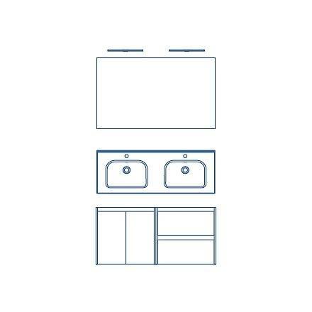 Combinación 2 Pu. 2 Caj. + Espejo y 2 Apliques