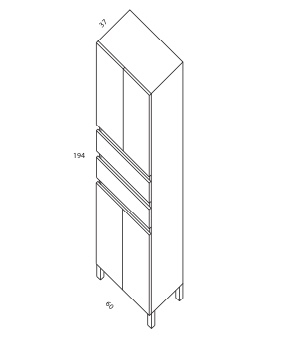 columna 4p y cajon de 194x60x37