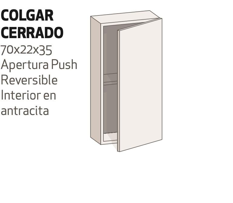 *Módulo colgar c/puerta reversible de 70x22x35