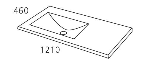 Encimera/Lavabo flat, ceramico de un seno Izquierda