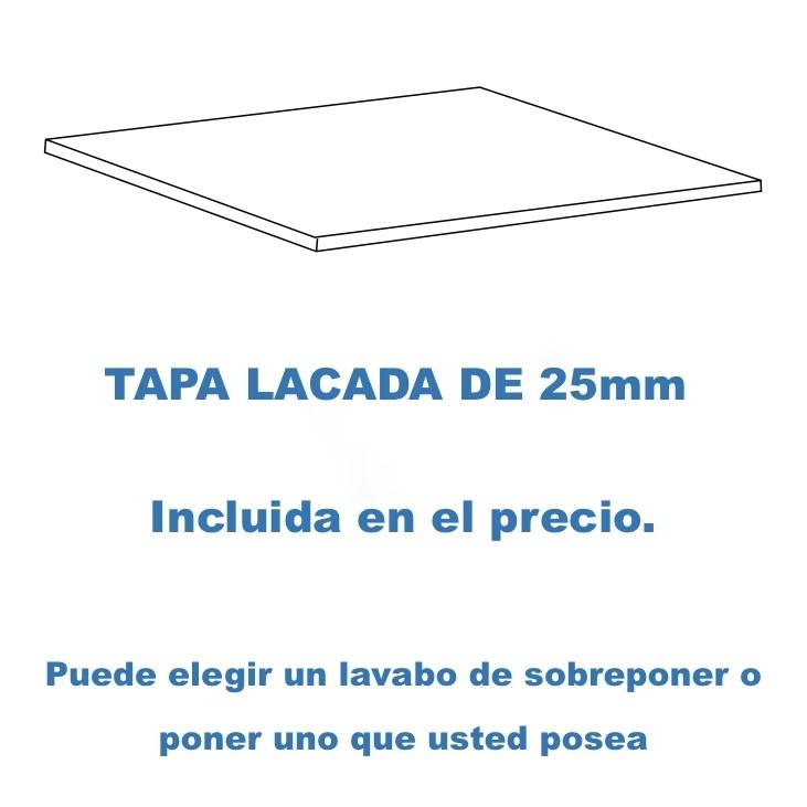 Tapa lacada de 25 mm para lavabo de sobre poner